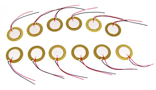 12pc. 20mm Piezoelectric Buzzer Contact Mics with Leads - Use for Cigar Box Guitar Pickups, Drum Triggers & More