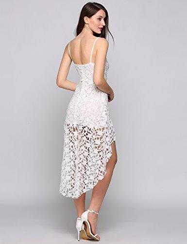 Teamyy Vestido hueco de encaje de dobladillo asimétrico sin mangas vestido atractivo de las mujeres Blanco
