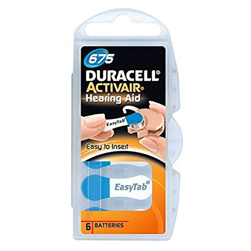 Pack of 6 Duracell 675 Hearing Aid Battery Blue Tab Activair 1.45v PR44 Easytab Long expiry