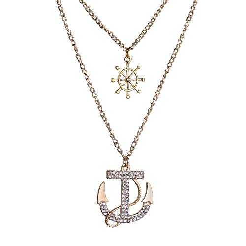 (JczR.Y Fashion Double-Layer Rhinestone Anchor Necklace Pendent Gold Sweater Chain Choker Rudder Necklace for Women Girls (White))