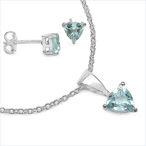 Bijoux Schmidt-SET 4-pièces boucles d'oreilles topaze bleue, collier, pendentifs, argent 1, 80 carats