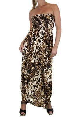 ICE (3970-4) Sleeveless Animal Print Full Length Dress Tan One Size