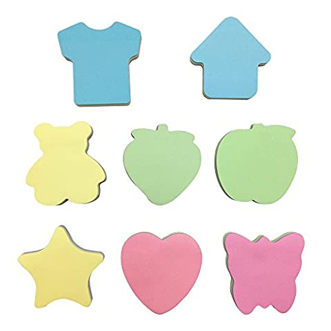 Mziart 8 Pieces Rainbow Sticky Notes Cute Cartoon Shaped Self Sticky Notes Paper Memo, 3 x 3 Inches, 100 - Star Shaped Sticky Notes