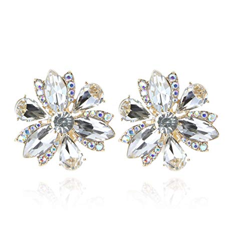 SP Sophia Collection Women's Stunning Crystal Statement Floral Stud Clip On Earrings in Gold Clear