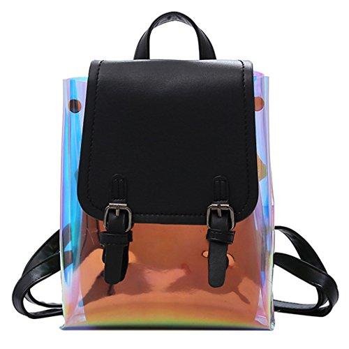 GUBENM Transparent Backpack, 2 Pcs Metallic Color Transparent Jelly Leather Backpack + Shoulder Bag, FAHSION Rucksack for Girls School Bags, Travel Outdoor Shopping Backpack Black