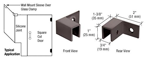 C.R. LAURENCE S0GC37L0RB CRL Oil Rubbed Bronze Left Hand ''Sleeve Over'' Wall Mount Glass Clamp