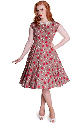 Hell Bunny 50s Rockabilly Swing Tattoo Pin up Caramel Francine Dress (M) (50s Tattoos)