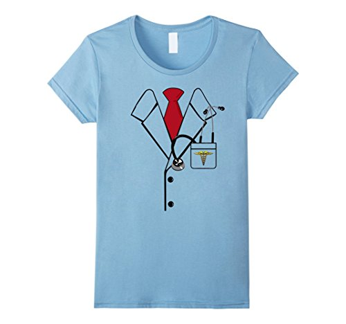 Baby Weightlifter Costume (Womens Funny Doctor, Nurse Scrubs Costume Tshirt - For Halloween Large Baby Blue)