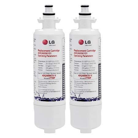 LG LT700P Refrigerator Water Filter, 2 Pack, White