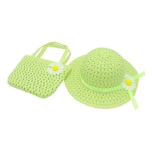 Rowai Straw Sun Hat Bag Set, Cute Summer Flower Sun Cap and Handbag for Kids Girls ()
