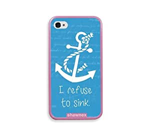 Shawnex Refuse To Sink Blue Anchor Pink Silicon Bumper iPhone 4 & 4S Case - Fits iPhone 4 & 4S