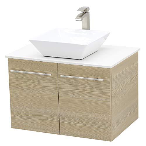 WindBay Wall Mount Floating Bathroom Vanity Sink Set. Tan Vanity, White Flat Stone Countertop Ceramic Sink - - Wall Mount Beige Sink