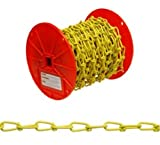 ASC MC137216125 Low Carbon Steel Inco Double Loop Chain, Polycoated Yellow, 2/0 Trade, 1/8'' Diameter x 125' Length, 255 lbs Working Load Limit