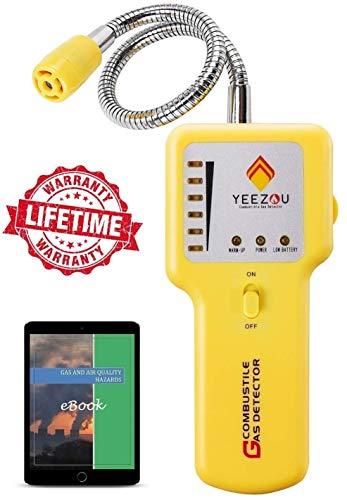 Y201 Natural Gas Detector, Propane Gas Leak Detector, Gas Sniffer, Portable Combustible Explosive Gas Sensor, Tester: Methane, Butane, LPG, LNG; Sound & LED Warning, Flexible Sensor Neck; eBook