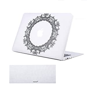"MacBook Air 13"" Case Rubberized Plastic Hard Case Cover with Keyboard Cover for MacBook Air 13 inch (Models: A1369 / A1466) Laptop Hard Shell - Circles White"