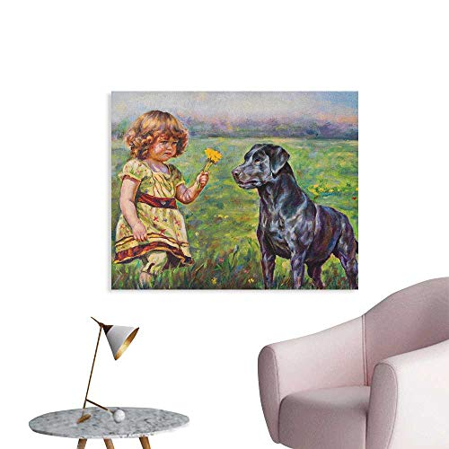 Anzhutwelve Country Poster Wall Decor Paint of a Cute Little Girl with her Tiny Flower and Dog in The Meadow Pastoral Artwork Poster Paper Multi W28 xL20 ()