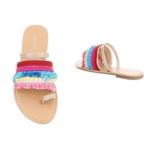 Tacón Ital de Dedo Mujer Para Multi Design Ancho Sandalias de Vestir Zapatos Beige Sandalias wBApBanq0