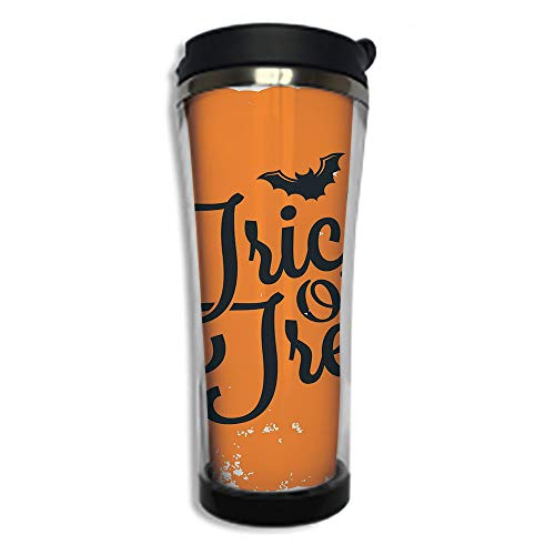 Travel Coffee Mug 3D Printed Portable Vacuum Cup,Insulated Tea Cup Water Bottle Tumblers for Drinking with Lid 14.2oz(420 ml)by,Vintage Halloween,Trick or Treat Halloween Theme Celebration Image Bats