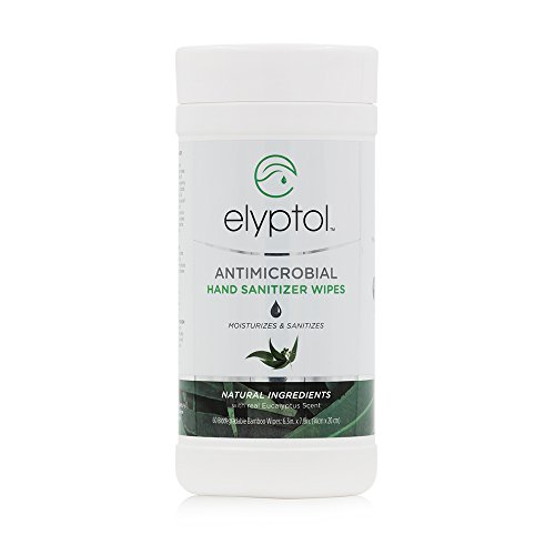 Antimicrobial Hand Sanitizer Wipes - Natural Antimicrobial Hand Sanitizing Wipes by Elyptol, Eucalyptus Oil | 60-Count Tub (Pack of 3)