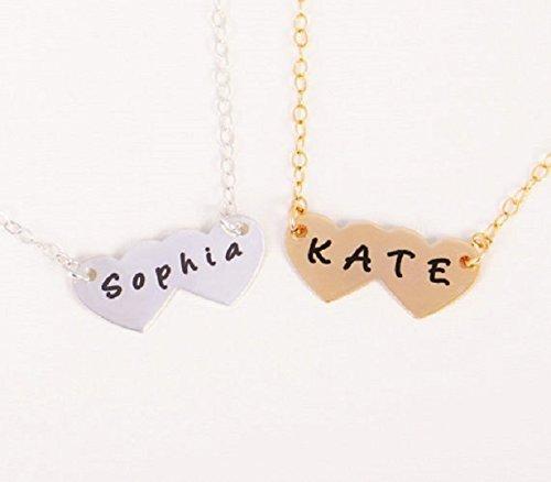 Amazon gold custom heart pendant necklace engraved double gold custom heart pendant necklace engraved double heart necklace personalized double heart necklace aloadofball Choice Image