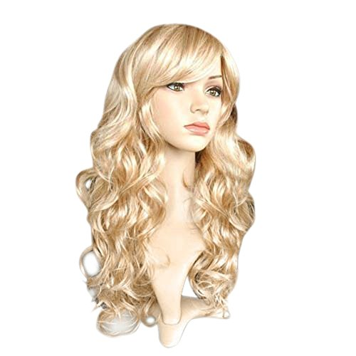 ROLECOS Womens Long Wavy Wigs Fashion Curly Synthetic Hair Wig Blonde (Curly Blonde Costume Wig)