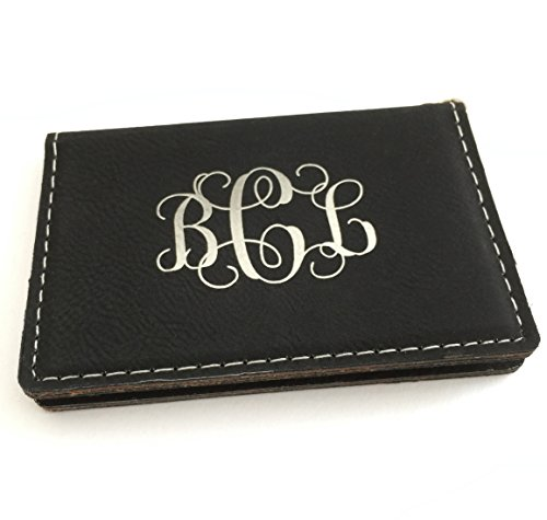 Monogram Keychain Wallet ID Holder Faux Leather Personalized (Black)