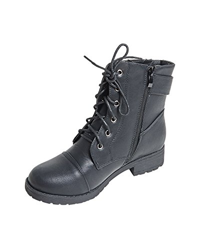 Bonnibel Rio-3-5 Womens Faux Leather Lace Up Ankle Boots Black 5.5