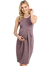 Women's Knee Length Midi Maternity Dress with Front Pleat