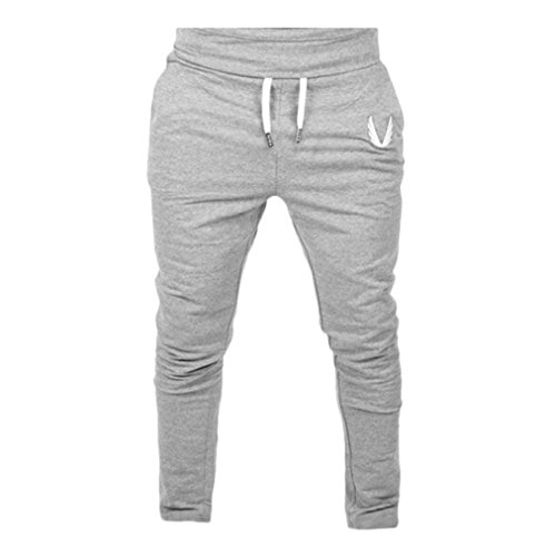 Perman Mens Pants, Casual Elastic Fitness Workout Running Gym Sportswear Pants Trousers, Cheap Stuff (M, Gray)