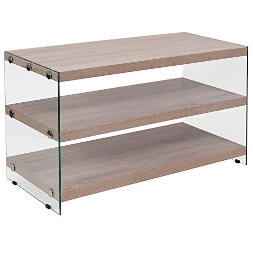 Flash Furniture Weston Collection Natural Wood Grain Finish TV Stand with Shelves and Glass Frame