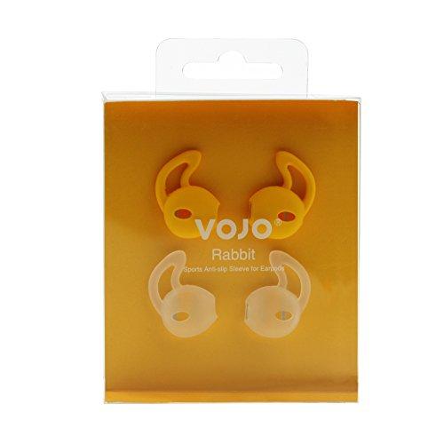 [Fit for Sport] Earpods Cover VOJO RABBIT [Orange &Clear](2 Pair), Anti-Slip Silicone Sleeve foriPhone 6 6s Plus 5 SE 5S 5C,Ear Hook Earbud HeadphoneEarphone Grip,Sweat&WaterProofCoolGadget by VOJO