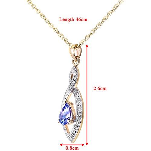 Revoni Bague en or jaune 9carats Diamant et tanzanite Pendentif avec chaîne 46cm en design Twist