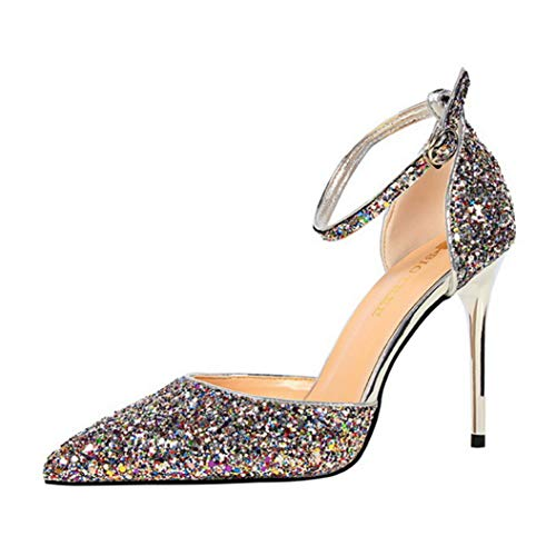 (Kyle Walsh Pa Women Shiny Pumps Stiletto Pointed Toe Ladies Sexy Sandals High-Heel Party Banquet Shoes)