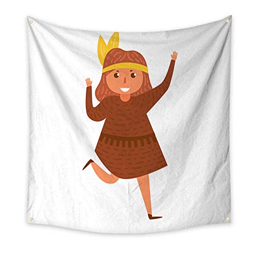 Anniutwo Tapestry Bedding Children s Halloween Costume Vector Cartoon Isolated Art Large tablecloths Wall Tapestry 47W x 47L -
