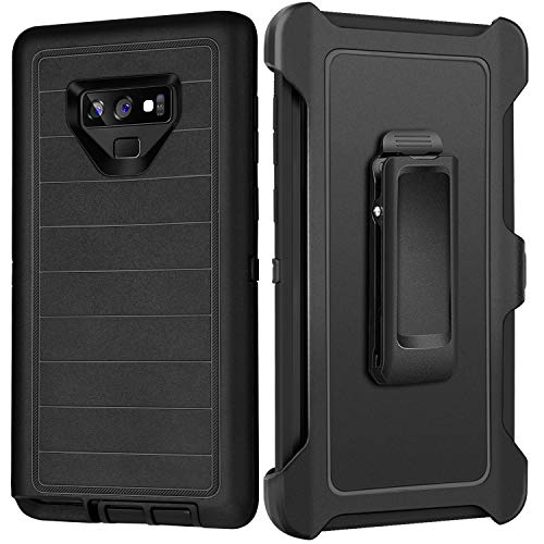 Full Body Protection - FOGEEK Case for Galaxy Note 9 - Belt Clip Holster - Kickstand - Heavy Duty Protection Stripe Rugged Armor Full Body Case Compatible for Samsung Galaxy Note 9 (2018) - (Black)