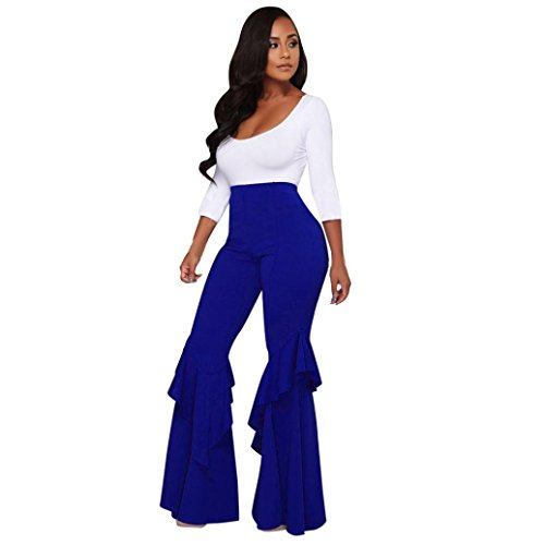 Womens Pants Liraly Womens High Waist Fitted Flared Frill Hem Palazzo Trouser Ruffle Party Pants (XL, Blue)