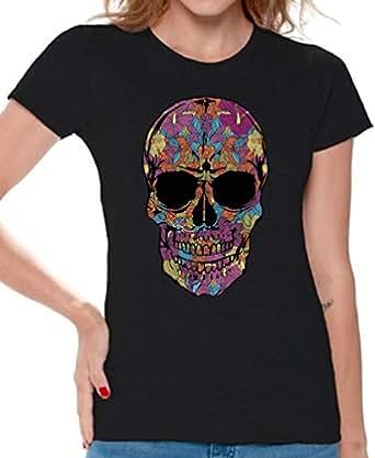 45c48e49085 Amazon.com  Awkward Styles Women Skull Shirts Day of The Dead Skull ...