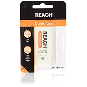 Reach Dentotape Waxed Dental Floss with Extra Wide Cleaning Surface for Large Spaces between Teeth, Unflavored, 100 Yards (Pack of 4) 5