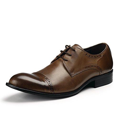 La Chaussures D'affaires Charme GRRONG Bleu brown De Robe Mode Hommes qSTXa