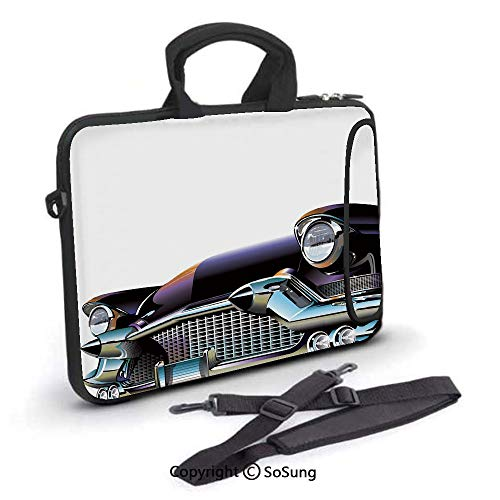 (13 inch Laptop Case,Old Fashioned Automobile Old Timer Antique American Collectors Vehicle Decorative Neoprene Laptop Shoulder Bag Sleeve Case with Handle and Carrying & External Side Pocket,for Netbo)
