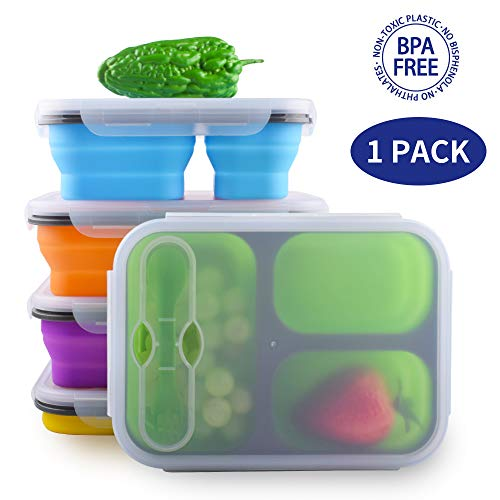 - Dalebox Collapsible Lunchbox - Airtight Expandable Silicone 3 Compartments Large Bento Box Kit-BPA Free, Safe in Microwave, Dishwasher & Freezer (1 Pack) (Blue)