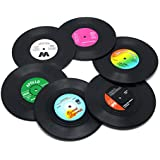 Coaster Set of 6 Colorful Vinyl Record Disk...