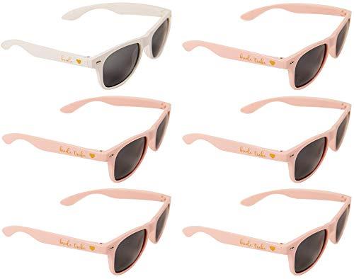 Bride Tribe Sunglasses - Bride-to-be and Bridesmaids Sunglasses for Bachelorette Party (1 x Bride; 5 x Bride Tribe)