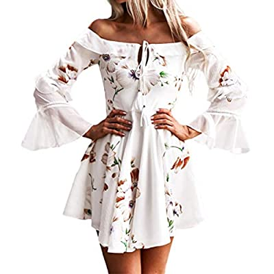 Toimothcn Womens Bell Sleeve Off Shouder Mini Dress Boho Floral Printed Evening Party Beach Sundress