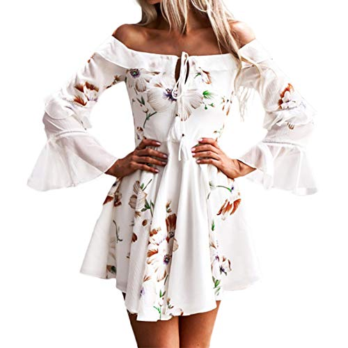 Womens Off Shoulder Floral Mini Dress boeson Dresses Summer Sundress Party Beach (Cowgirl Dresses)