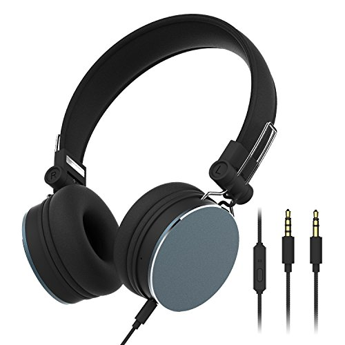 Cheap Over-Ear Headphones,3.5 mm Jack On Ear Headphones Adjustable and Foldable Bass Earphones Wired Music headset with Microphone(Black)