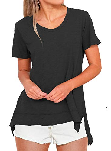 MIHOLL Women's Casual Short Sleeve High Low Side Slits T-Shirt Tops (Large, ()