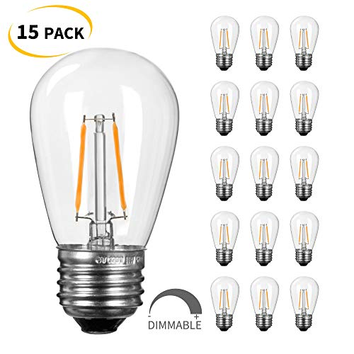 Shatterproof Incandescent Light Bulb - S14 LED Light Bulbs 2700K, Warm White, Shatterproof Lightbulbs Equivalent to 11 W, Dimmable E26 E27 Shatterproof Replacement Bulb for Home Light Fixtures and Decorative,15 PC