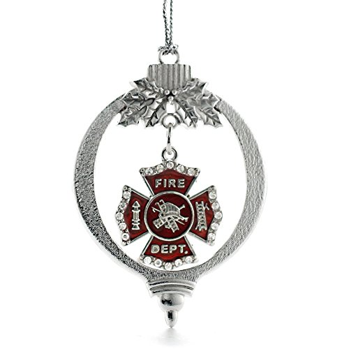 Inspired Silver Firefighter Badge Holiday Christmas Tree Ornament With Crystal Rhinestones