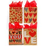 Flomo 1934621 Love Printed OnKraft Paper with Ribbon Handle & Die Cut